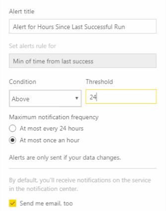 Power BI data alert